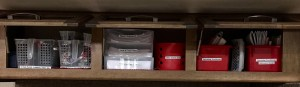Homeschool Supplies in Overhead Cabinets