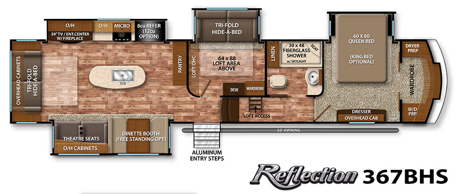 Exodus. Our 2016 Reflection 367BHS by Grand Design. It's a mid-bunk floor plan, which is PERFECT for our needs.