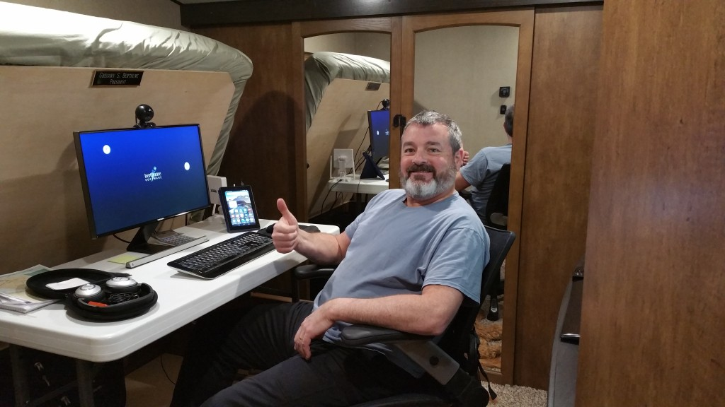 Grand Design was the only 5th wheel manufacturer that had the combination of deep storage under bed, a bed that lifted up high, and enough floor space for an office chair. Greg had this vision for his office from the beginning, so we had to find the right rig to fulfill his vision. Now he had his own private office! It only takes him about 5-10 minutes to set up, and even less to stow it all away when he's done.
