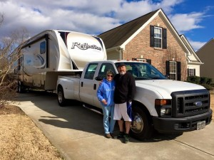 This is our 2008 Ford F-350 Turbo Diesel Crew Cab Dually, named Moses ready to lead Exodus, our aptly named fifth wheel away from our old s&b home and into the American wilderness!